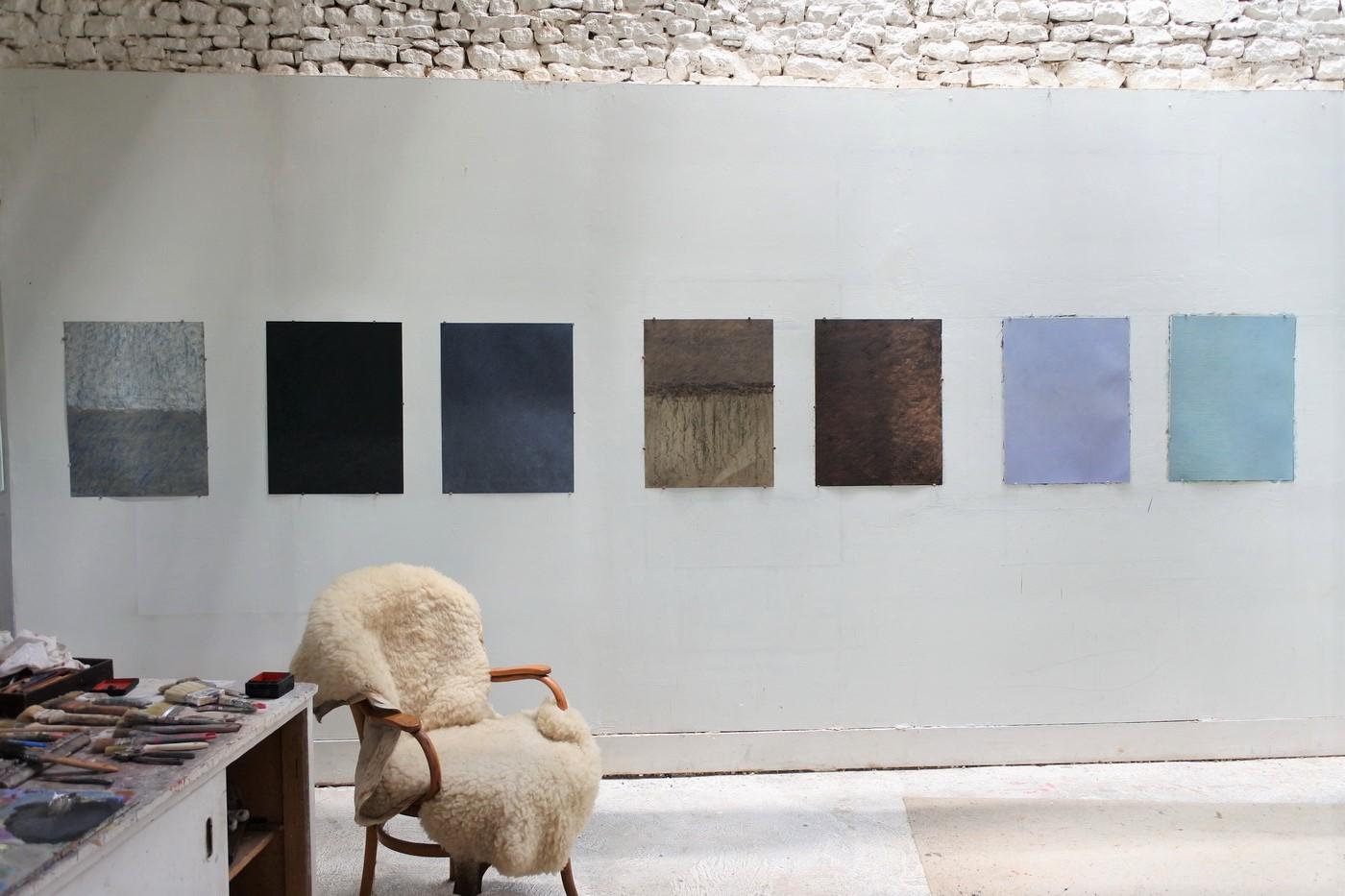 Huiles sur papier, 2020. 65 x 50 cm
